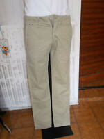 Pantalon coton beige/kaki slim NAPAPIJRI W30 L34 38FR brodé logo 19ET19