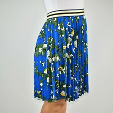 New Ted Baker Zakai Pleated Blue Pencil Floral Skirt Autumn Holiday Size 3 12 AT