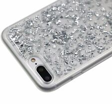 For iPhone 7+ PLUS - Hard Rubber Silicone Case Cover Sparkling SILVER Foil Bling