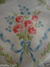 """antique french silk taffetas with bows and roses 27 1/2""""  x  25 1/2"""""""