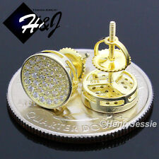 925 STERLING SILVER 9MM LAB DIAMOND BLING ROUND SCREW BACK GOLD STUD EARRING*E74