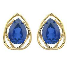 14Kt Gold 4 Ct Blue Sapphire Pear Teardrop Design Stud Earrings