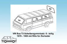 VW Bus T3 Satz Scheibendichtungen 6-teilig,  orig. Qualität mit Zierkeder 79-85