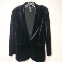 Norma Kamali Women's Velvet Blazer Jacket  Size Medium Black Modern Lines