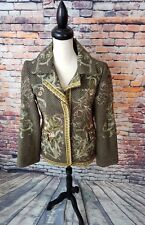 Biya By Johnny Was Green Snap Button WOOL Blend Floral EMBROIDERED Coat Jacket M