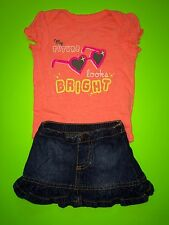 "EUC ""My Future Looks Bright"" Baby Girls 2 Pc Outfit Set Shirt Skirt Newborn Cute"