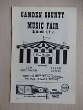 1966 - Camden County Music Fair Theatre Playbill - How To Succeed In Business...