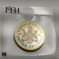 1971 Canada Silver Dollar UNCIRCULATED Nicely Toned 1871-1971 BC #coinsofcanada