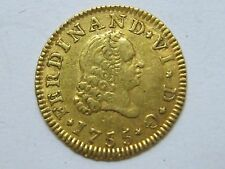 1755 MADRID 1/2 ESCUDO FERDINAND VI SPAIN SPANISH GOLD ORO .