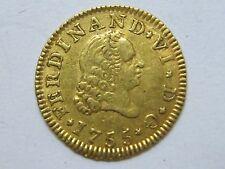 1755 MADRID 1/2 ESCUDO FERDINAND VI SPAIN SPANISH GOLD ORO .