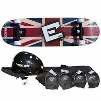 "28"" Junior Skateboard Kit - Skateboard, Helmet, Pads, Bag - Elite Union Jack"