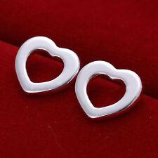 Xmas Hot Gifts925silver Plt Simple Elegant Stud Earrings Butterfly Ladies Womens Flat Hollow Love Heart