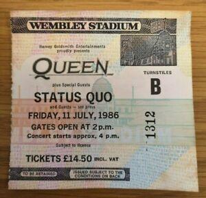 Queen Ticket Wembley Stadium uk Friday 11 July 1986 - ORIGINAL