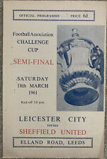 More details for leicester city v sheffield united fa cup semi final @ leeds 1960/61