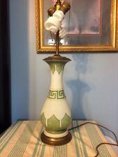 Art Nouveau Deco Lamp Double Bulb Greek Key Vintage Green Glass Roseville