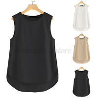 US STOCK Women Sleeveless Solid Loose Tank Tops Oversize Cami Camisole Shirt Tee