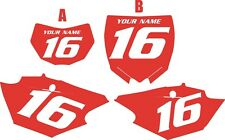 2014-2018 Yamaha WR250F Custom Pre-Printed Red Backgrounds with White Numbers