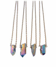 Galaxy Crystal Bullet Piedra corto necklace-vintage boho-rainbow Cuarzo Joyas