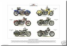 CLASSIC HARLEY-DAVIDSON MOTOR CYCLES - A3 size Art Print - FX WLD XL FLH Police