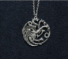 collier pendentif GOT 3 dragons Drogon de Daenerys Targaryen Game of Thrones