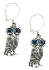 Goddess Athena's Wise Little Owl~ Greek Silver Earrings with Hooks