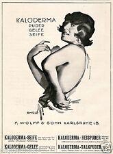 KALODERMA poudre savon Publicité 1926 de Rene Ahrlé Berlin Dame érotique Karlsruhe