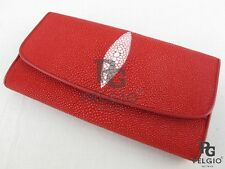 PELGIO Real Genuine Stingray Skin Leather Women Trifold Clutch Wallet Purse Red