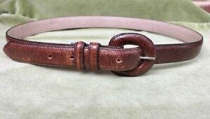 Vintage Narrow Leather Belt Snake Skin Pattern Size M Brown
