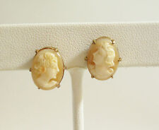 CARVED SARDONYX Shell CAMEO Victorian Lady Earrings Screw Bk Gold Plate Vintage