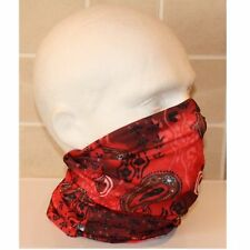 Ladies Mens Tube Snood Scarf Red Black Fading Paisley Lightweight Mask Cowl