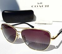 NEW* COACH 60mm AVIATOR L136 GOLD BLACK w Grey Gradient Lens Sunglasses H7058
