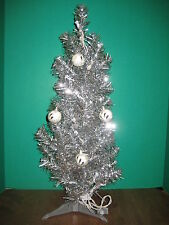"Silver Tinsel Christmas Tree 25"" Artificial Clear Lights Plus 4 Feather Balls"