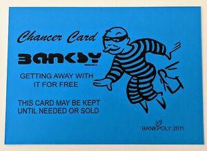 BLUE BANKSY Chancer Card - Banksypoly 2011 - Graffiti Art / Street Art