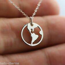 WHOLE WORLD NECKLACE - 925 Sterling Silver Planet Charm World Peace Pendant NEW*