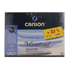 CANSON MONTVAL 24x32cm Pad 12 + 4 FOGLI 300gsm Acquerello Pad pressato a freddo