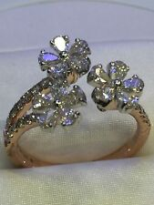 Pave 1.34 Cts Round Pear Cut Diamonds 3-Flower Split Shank Ring In Fine 14K Gold