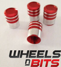 Red and Silver Striped Aluminium Valve Caps Suitable For Volvo Cars Vans SUV