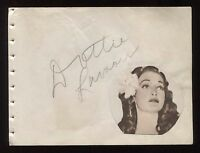 Dorothy Lamour and Georgie Jessel Signed Vintage Album Page Autographed