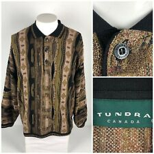 Tundra Canada Mens Large Sweater Polo Multicolor Cosby Vintage Rare Abstract