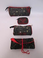 Set of 4 - Black Red Beaded Cosmetic Makeup Jewellery Roll Purse Bag Gift #2F4
