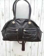 Ted Baker Brown Leather Handbag Tote Bag Grab Barrell Bowling Ladies Satchel