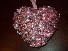 """New Valentine 3 1/2"""" Ornament 3-D Heart Pink Sequins & Beads Hanging Tree"""