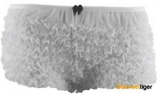 White Knickers Frilly Ruffled Lace Sheer Burlesque Sexy Size 6,8,10