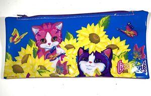 "Lisa Frank Kittens Sunflowers Pencil Case vintage 1990s Plastic 8x3.75"""