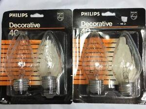 40F15/CL Philips USA Decorative Bulb #10188 40W F15 Standard E26 Base 4-pcs