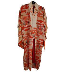 Vintage Handmade Silk Kimono Embroidered Orange Floral with FLAWS