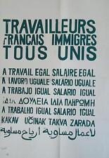 Affiche Originale Mai 68 Travailleurs français immigrés unis P167
