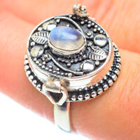 Rainbow Moonstone 925 Sterling Silver Poison Ring Size 8 Ana Co Jewelry R54559