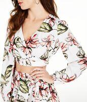 Guess Women's Crop Top White Size Large L Floral Print Surplice Blouse $69 #015