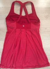 LULULEMON Power Dance Tank Top size 4 Red Luxtreme & Mesh EUC Yoga Gym